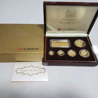 1992 singapore gold lion coins proof set