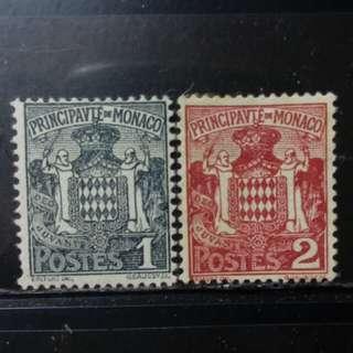 lapyip1230] 摩納哥大公國 1920年 王室徽紋 新票