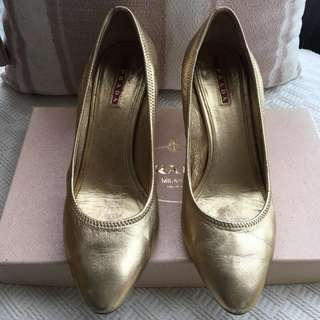 Prada   leather shoes @Size 37-1/2 (fit for size 37)  ***Made in Italy