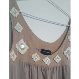 WITCHERY SINGLET - Beige Tan Colour - Small - Plastic Crystal Detail on Neckline
