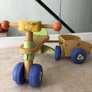 Wooden Toddler tricycle with trailer