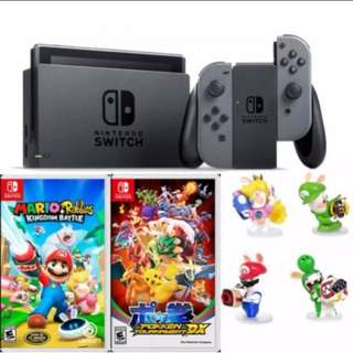 BNIB local set Nintendo Switch bundle (2 games, case and screen protector, figurine, and t-shirt)