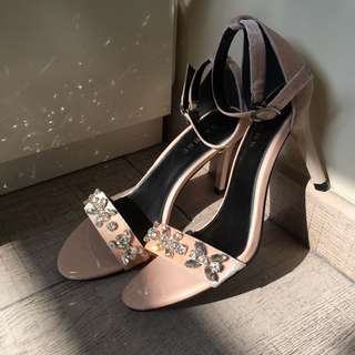 Nude/ Pink Ankle Strap Heeled Sandals with Crystal-Beaded Embellishments