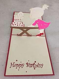 Pop up 3D birthday card (12x12cm)