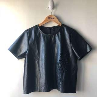 Zara Leather Top — Black