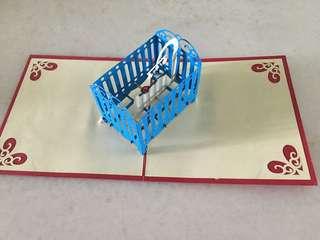 Pop up 3D baby shower card (12x12cm)