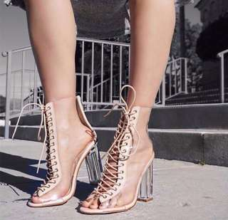 (Nude) Cross Strap with Transparent Sheet Heels