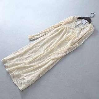 OshareGirl 03 西班牙單微性感透視V領純色寬鬆長袖連衣裙蕾絲裙「請按下左下反藍 read more 有詳情」