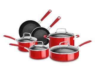 KitchenAid  10 Piece Aluminum Nonstick Set, Red, Large