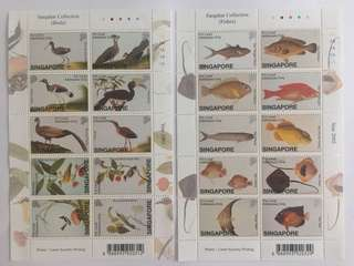 Singapore 2002 William Farquhar collections birds and fishes mnh