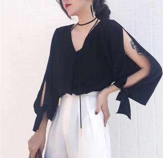 (Black) V-neck & Bow Tie Sleeve Chiffon Top