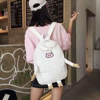 小猪造型帆布双肩包超萌可爱后背包 (預購)