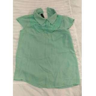 綠色 短袖雪紡