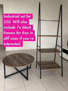 Industrial Coffee Table & Shelf Set