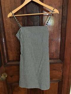 Gingham/check tie back mini dress