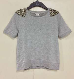 Forever 21 Girls Gray Tee with Beads