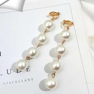 Cascading Pearls Clip On Earrings