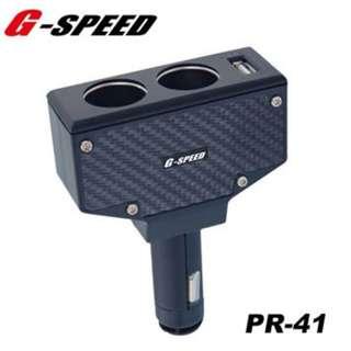 G-SPEED 3.2A 直插式2孔插座+USB車充 PR-41