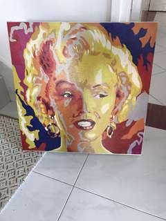 Marilyn Monroe Handpaint cutout art acrylic glitter