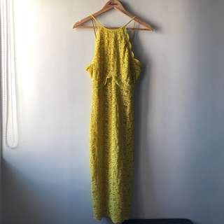 Zara Lace Dress — Yellow