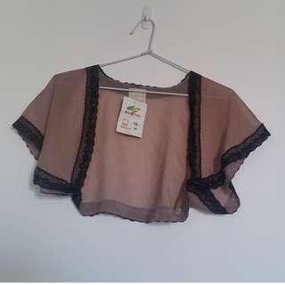 Paid $69 BNWT Brown with Black Lace - Bolero Shrug Cardigan Jacket - Size 8