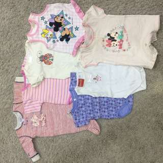7 pc combo set baby girl romper sleepsuit jumpsuit jumper
