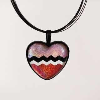 🆕Holographic Pink Chevron Black Necklace