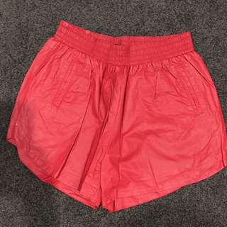 Leather red shorts