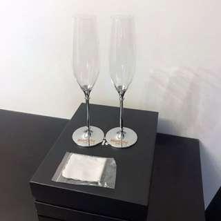 全新水晶香檳杯一對