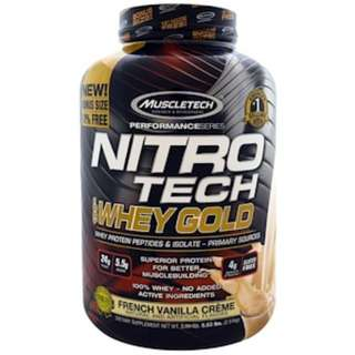 Muscletech, Nitro Tech, 100% Whey Gold, French Vanilla Creme, 5.53 lbs. (2.51 kg)