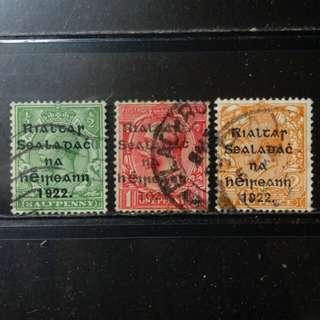 lapyip1230] 英屬愛爾蘭獨立票 1922年 喬治五世 加蓋