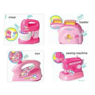 *FREE DELIVERY to WM only / Ready stock* Kids toy kitchen appliances (mixer/iron/sewing m/c) each as shown design/color from RM25. Free delivery is applied for this item. Each RM25, 2pcs RM35, 3pcs RM50