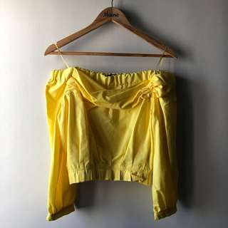 Zara Off Shoulder Top — Yellow