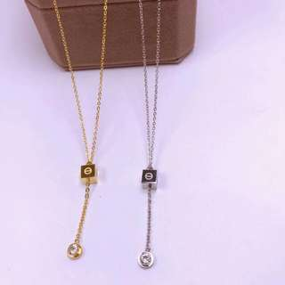 🍀cartier inspired cube stoned necklace🍀