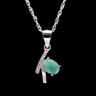 Pendant Emerald Green ( columbiam ) with Necklace