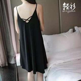 加肥加大碼睡衣裙女夏胖mm莫代爾中長款吊帶裙打底連衣裙潮XL-4XL