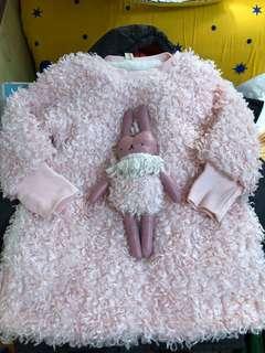 Pinky flurry top/dress 粉紅毛毛兔仔上衣/連身裙