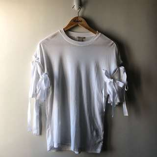H&M Ribbon Shirt — White