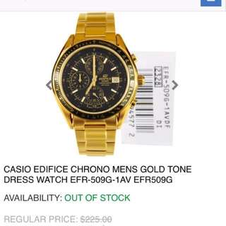 Casio edifice chrono mens gold tone