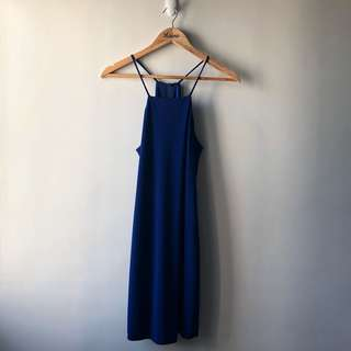 Mango Halter Neck Dress — Royal Blue