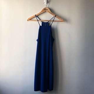 Mango Halter Neck Dress — Royal Blue