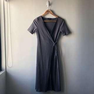 Zalora Wrap Dress — Gray