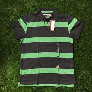 Esprit Black & Green Polo Shirt Size S