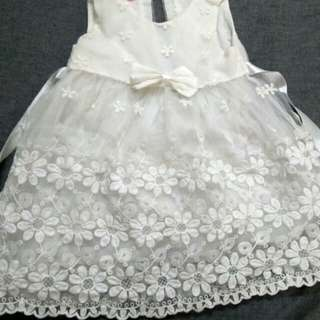Flower girl Dress~Off White with Embroidery
