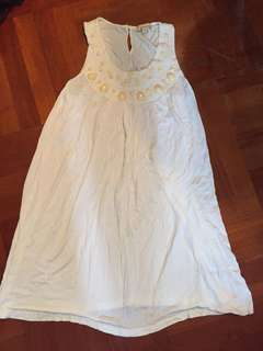 Top white mini skirt one piece 白色長背心