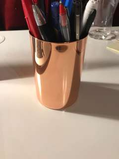 Copper/rose gold pen holder/container