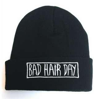 black bad hair day beanie