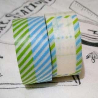 藍綠條紋/便簽紙膠帶