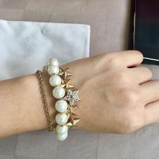 Brand new pearls dangling stars double link bangle bracelet