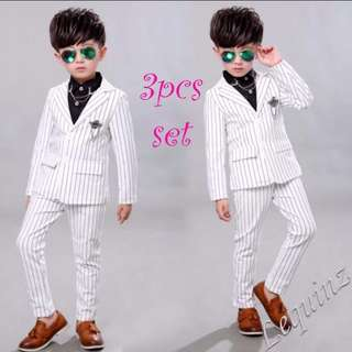 White Smart Suit flower Boys Wedding Birthday Party Piano